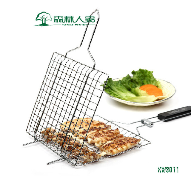 Charming House Scenery Kitchen Cooking Tools Hamburger Barbecue Net BBQ Baking Sheet  Clip Camping Iron Chrome Plated