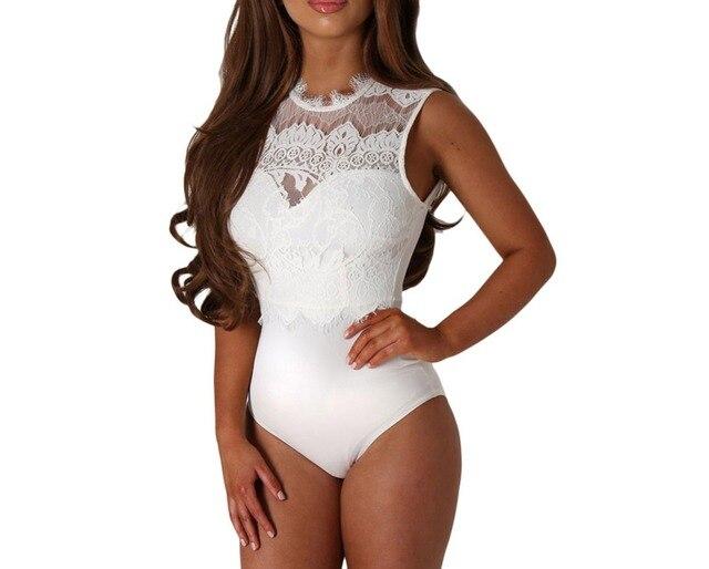 0099eb30683d FGirl Bodysuits Women Romper Lace High Neck Cut Out Back Bodysuit Sexy Lace  Women Bodysuit Top FG21696
