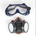 Nuevo Filtro de Protección De Gas De Doble Máscara de Gas Chemical Anti Polvo de la Pintura Del Respirador Máscara de La Cara con Gafas De Seguridad Industrial Al Por Mayor