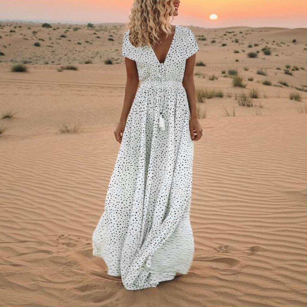 Women Polka Dot White Dress V Neck Short Sleeve Vintage Maxi Dress New Tassel Lace Up Summer Slim Long Ladies Sundress DouDouLu
