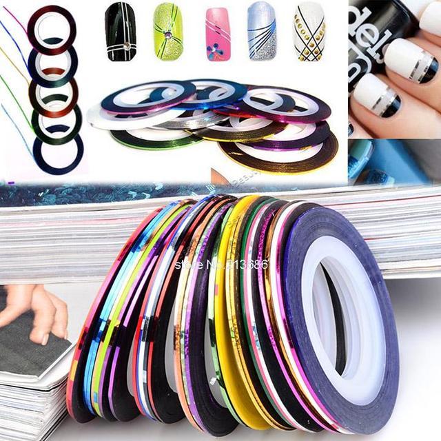 2014 nuevo 30 unids colores mezclados Nail rollos trazado de líneas de cinta del clavo de DIY arte inclina la decoración etiqueta engomada uñas cuidado 29