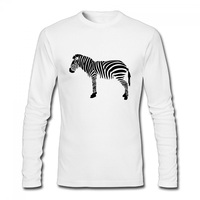 Zebra Personality T Shirt Funny Men Casual Cotton Long Sleeve Tees Horse Animal T Shirt Swag
