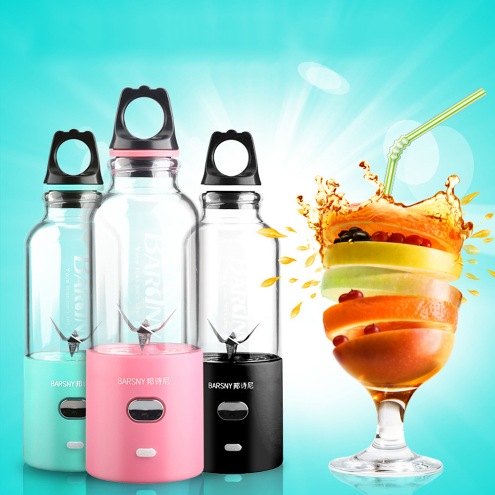 Barsny 500ml Multi-Functional USB Electric Juicer Machine Cup Portable Blender Juice Extractor 6 Sharp Blades + 25W Strong Power