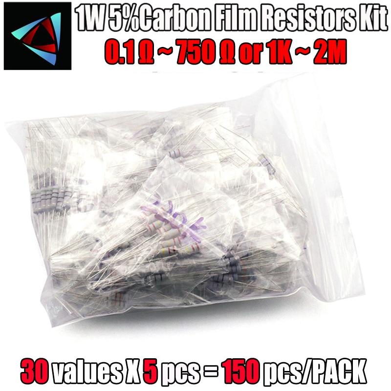 150Pcs 1W Carbon Film Resistors 0.1 Ohm ~ 750 Ohm Or 1K ~ 2M 5% Assorted Kit Resistance 30 Values*5pcs