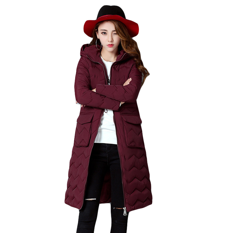 High Quality Warm Wadded Winter Jacket Women Long Slim Cotton Jacket Padded Quilted Coat Outwear Chaquetas Parka Feminina CM1460 high quality thickening warm parka hooded women winter jacket snow wear female long slim winter cotton padded wadded coat cm1490