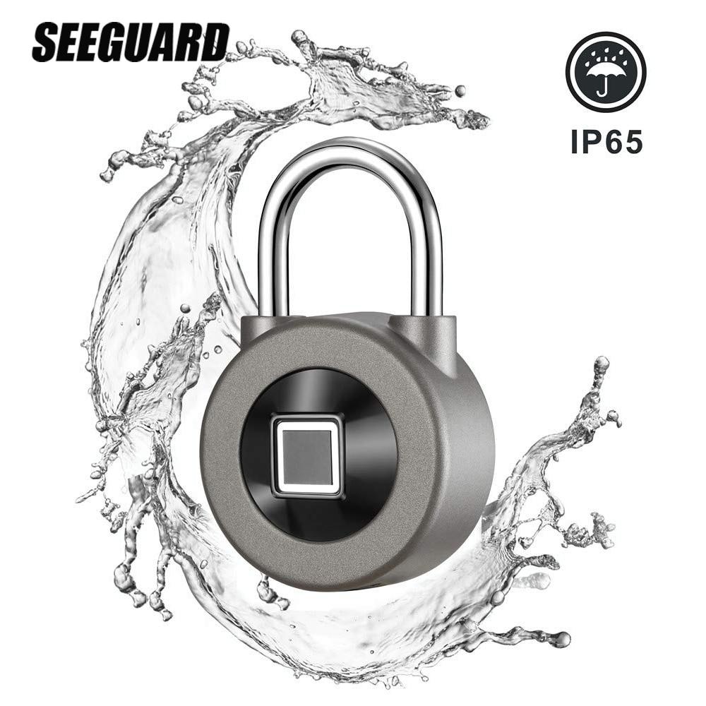 Seeguard smart fingerprint lock keyless usb recarregável acesso ip65 impermeável anti-roubo segurança cadeado porta bagagem caso