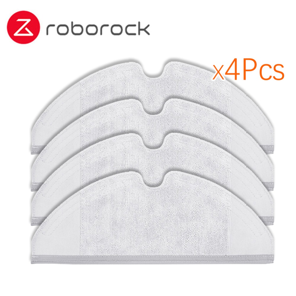 4Pcs Original Roborock S50 S51 Parts Mop Cloths for Xiaomi Vacuum Cleaner Generation 2 Dry Wet Mopping Cleaning new original xiaomi roborock s50 robot vacuum cleaner 2 smart dust cleaning for home office automatic sweep mopping app control