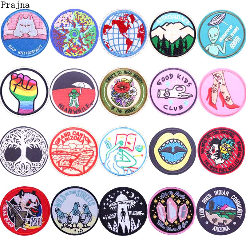 Prajna UFO Alien Round Patches Embroidery Iron On Patches For Clothing Applique For Jacket Stickers On Clothes Badge DIY Apparel