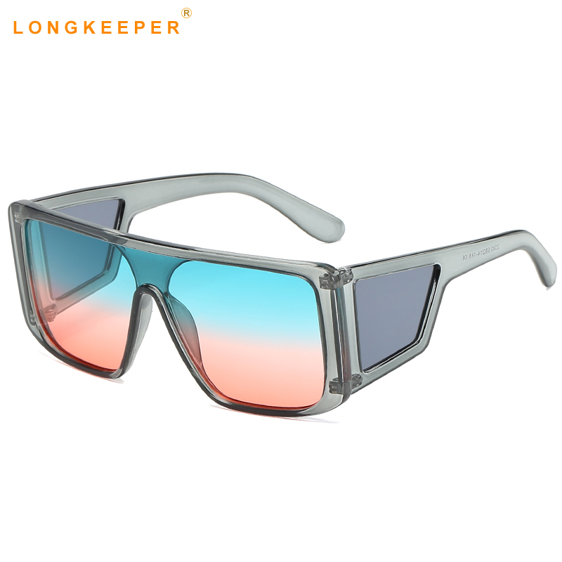 2019 New Oversized Square Sunglasses Women Men One-piece Mirror Big Frame Sun Glasses Fashion Retro Lunette De Soleil Uv400