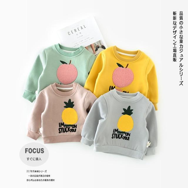 4eb7b2f1db3 Boys Winter Baby Girls Clothing Long Sleeve Cotton T Shirt Children's  Clothing Fruit Pineapple Apple Thick Fleece Warm Kids Tops