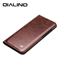 QIALINO Genuine Real Leather Luxury Cover for Huawei Honor 10 Fashion Ultra Slim Handmade Flip Case for Honor 10 5.84 inch