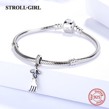 Strollgirl New arrival 925 Sterling Silver oxidation fork Charm beads Fit original Pandora bracelet DIY jewelry making for gift new arrival charms sterling silver 925 hat beads fit original pandora charm bracelets diy jewelry accessory making for men gift