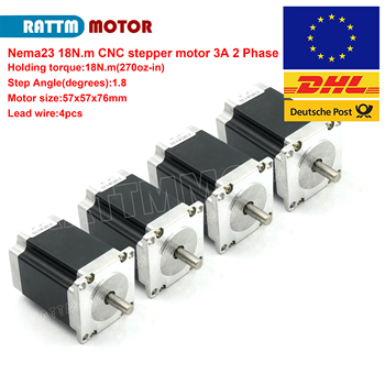 4pcs Nema23 stepper motor 57x76mm 1.8Nm 270 Oz-in 3A 4 wires for 3D printer parts CNC engraving milling machine 23HS8430 image