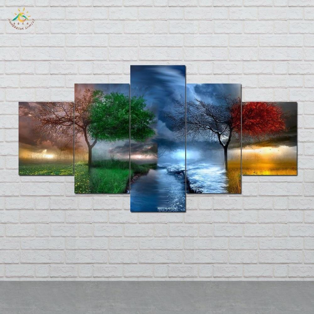 چهار فصل درختان Wall Art HD چاپ بوم نقاشی - دکور خانه