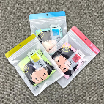 100Pcs Pink Blue Plastic Underwear Underpants Zip Lock Packaging Bag with Hang Hole, Briefs Knickers Storage Bag for Retail Shop 3000pcs lot 12 20cm gold silver self seal zipper plastic retail packaging storage bag zip lock plastic bag w hang hole