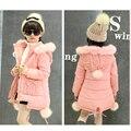 Розовый фиолетовый с капюшоном девушка теплая куртка верхняя одежда пальто для маленьких большие девочки одежда детей пальто одежда новые 2016 зимние куртки