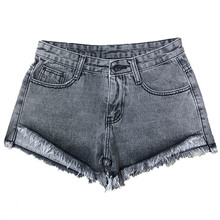 NiceMix 2019 NewWomen Summer Wind Denim Shorts Female High Waist Slim Jeans Ripped Hole Fringe Casual Pocket Zipper