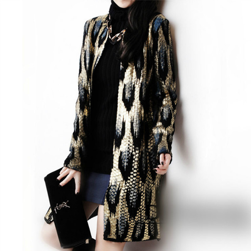a27486ab08 Detail Feedback Questions about Women Bronzing Peacock Printing Knitted  Cardigan OL Leopard Sweater Coat Outwear Snake Pattern Jacket Outwear  Autumn Tops ...