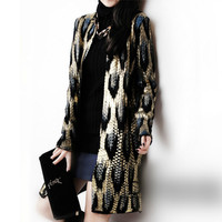 Women Bronzing Peacock Printing Knitted Cardigan OL Leopard Sweater Coat Outwear Snake Pattern Jacket Outwear Autumn Tops 2018
