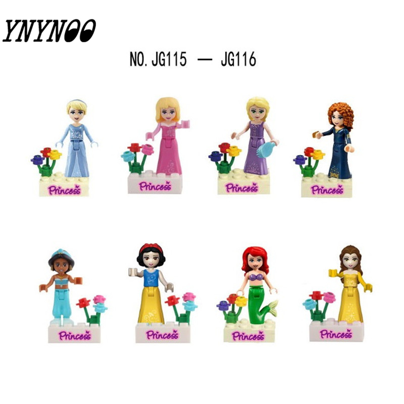 YNYNOO Cinderella Tinker Bell Ariel Snow White Princess Building Bricks Blocks Kid Baby Toy compatible Legoingly disney princess пупс baby cinderella