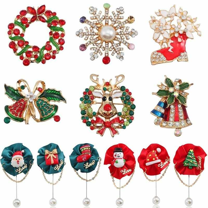 Christmas Brooch Pins Rhinestone Enamel Christmas Tree Bell Santa Claus Snowman Wreath Brooches For Women Xmas Jewelry Broches