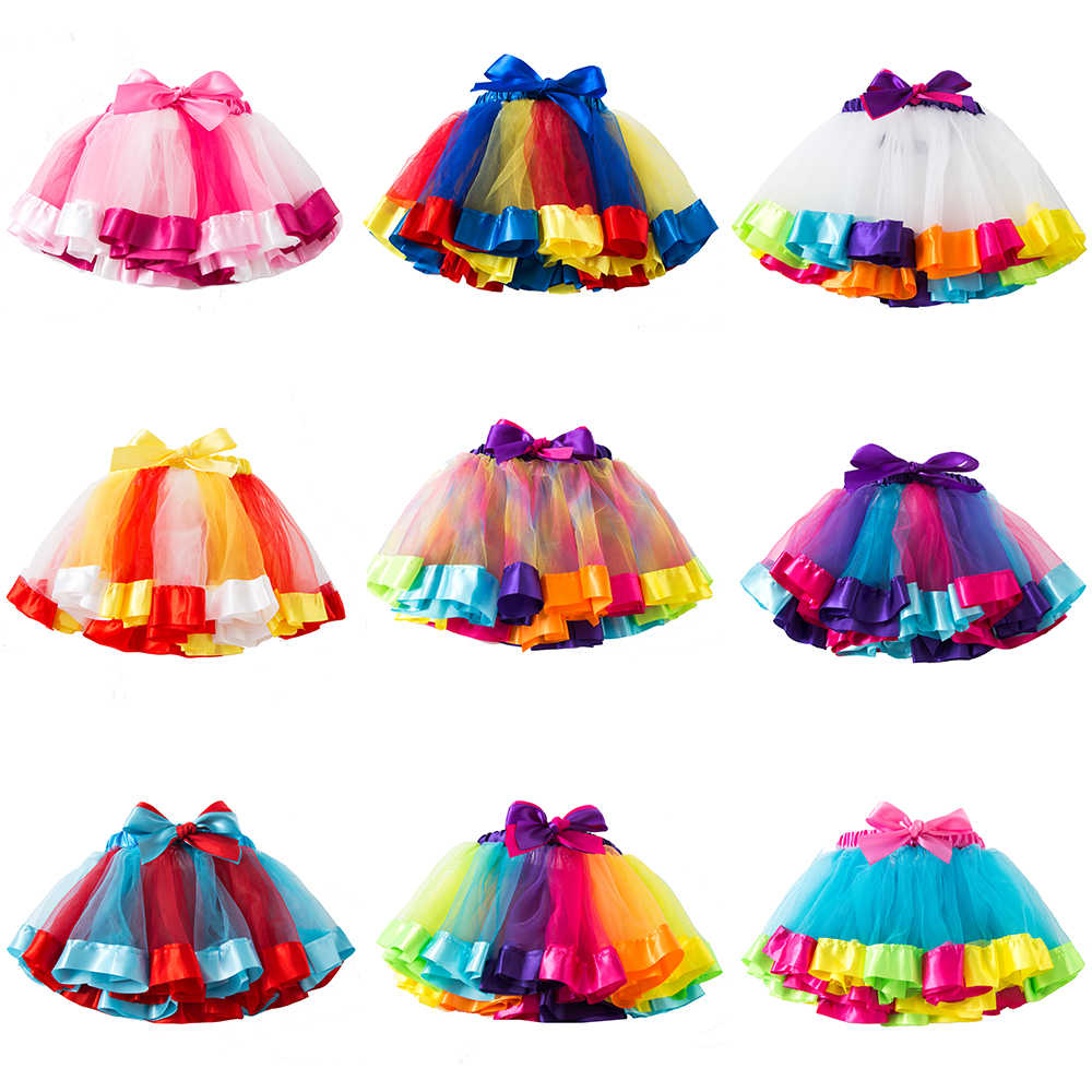 3M-8T New Tutu Skirt Baby Girl Skirts Princess Mini Pettiskirt Party Dance Rainbow Tulle Skirts Girls Clothes Children Clothing