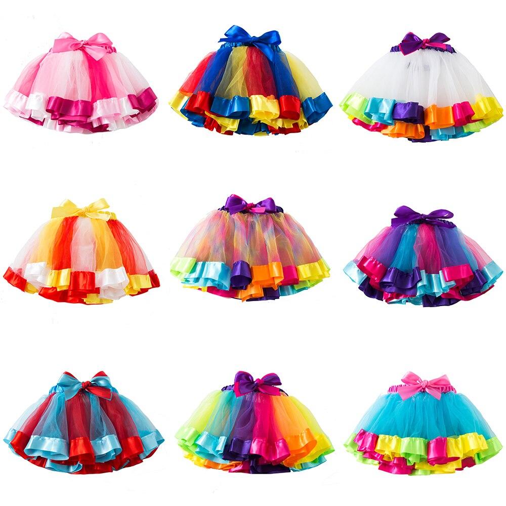 3M-8T New Tutu Skirt Baby Girl Skirts Princess Mini Pettiskirt Party Dance Rainbow Tulle Skirts Girls Clothes Children Clothing