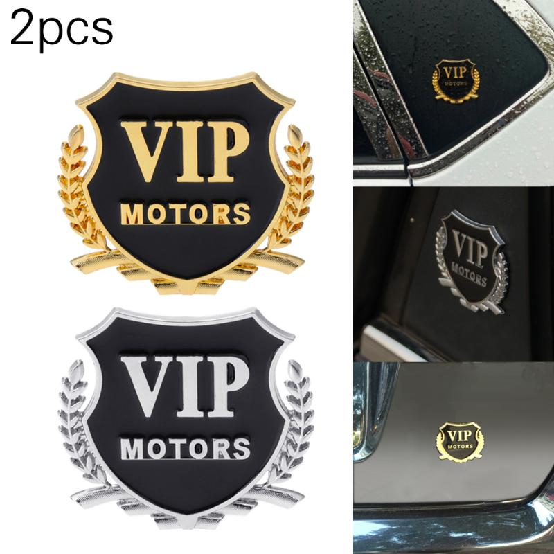2Pcs New Style Car Sticker VIP MOTORS Metal Car Chrome Emblem Badge Decal Door Window Body Auto Decor DIY Sticker Car Decoration mayitr metal 3d black limited edition sticker universal car auto body emblem badge sticker decal chrome emblem car styling