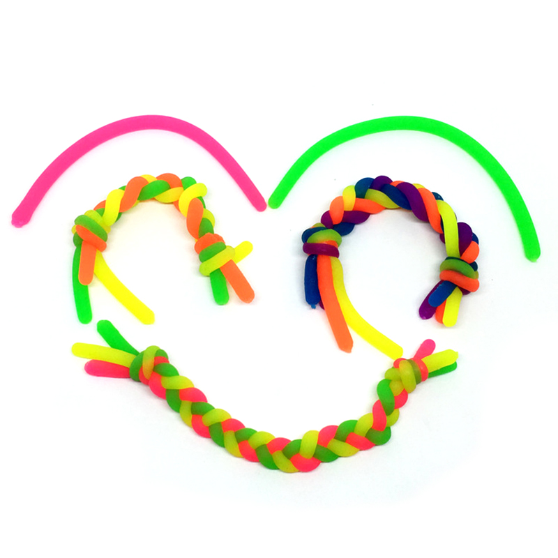20pcs/lot TPR Soft Anti Stress Rope Toys Fidget Noodle Stretch/Pull/Twirl/Wrap/Squeeze Toy Neon slings DIY Hand-knit Rope