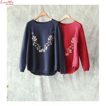 Floral Embroidery High Grade Women Sweaters Pullovers Vintage Long Sleeve Unique Knitshirt Seasons Sweaters