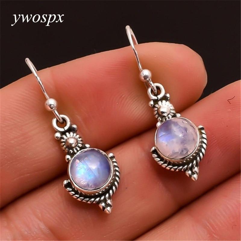 YWOSPX 2018 Vintage Imitation Moonstone Brincos Dangle Silver Color Earrings for Women Wedding Jewelry Boho Statement Earring Y4 in Drop Earrings from Jewelry Accessories