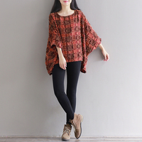 Spring And Summer Large Size Literary Style All Match Shirt For Female Cotton And Linen Loose