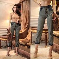 Cute Vintage High Waist Jeans for Women boyfriend jeans Denim Harem Pants