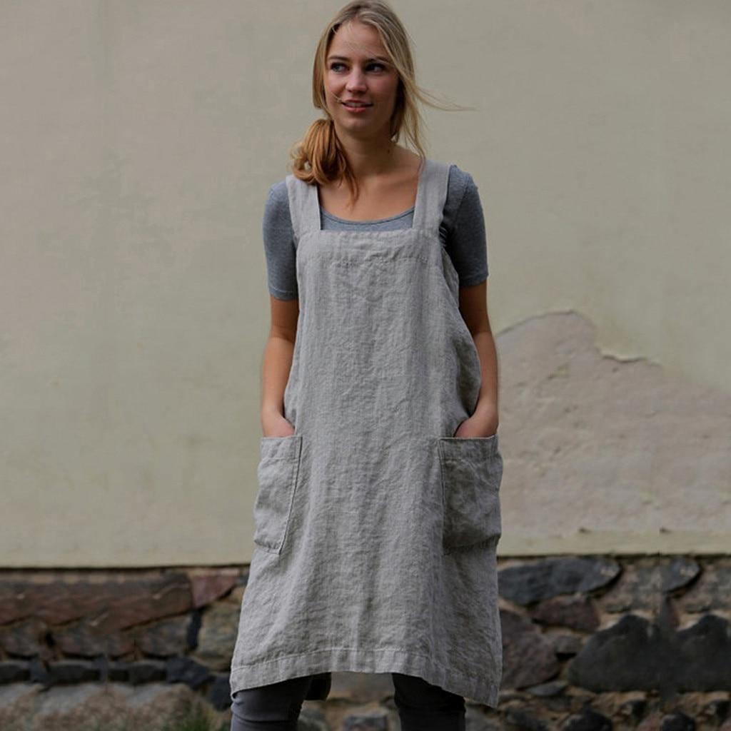 US $5.74 32% OFF|Female Square Cross Apron Garden Work Pinafore Dresses  Women Cotton Linen Pinafore Dresses plus size Ladies clothes robe femme-in  ...