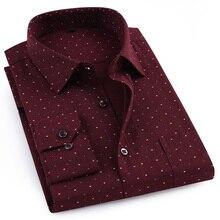 الرجال سميكة طويلة الأكمام أكسفورد المطبوعة قمصان العمل واحد التصحيح جيب منتظم صالح زر يصل بلوزة عادية القمم قميص