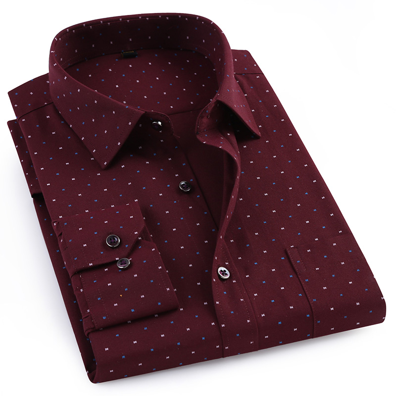 Men's Thick Long Sleeve Oxford Printed Work Shirts Single Patch Pocket Regular-fit Button Up Casual Blouse Tops Shirt
