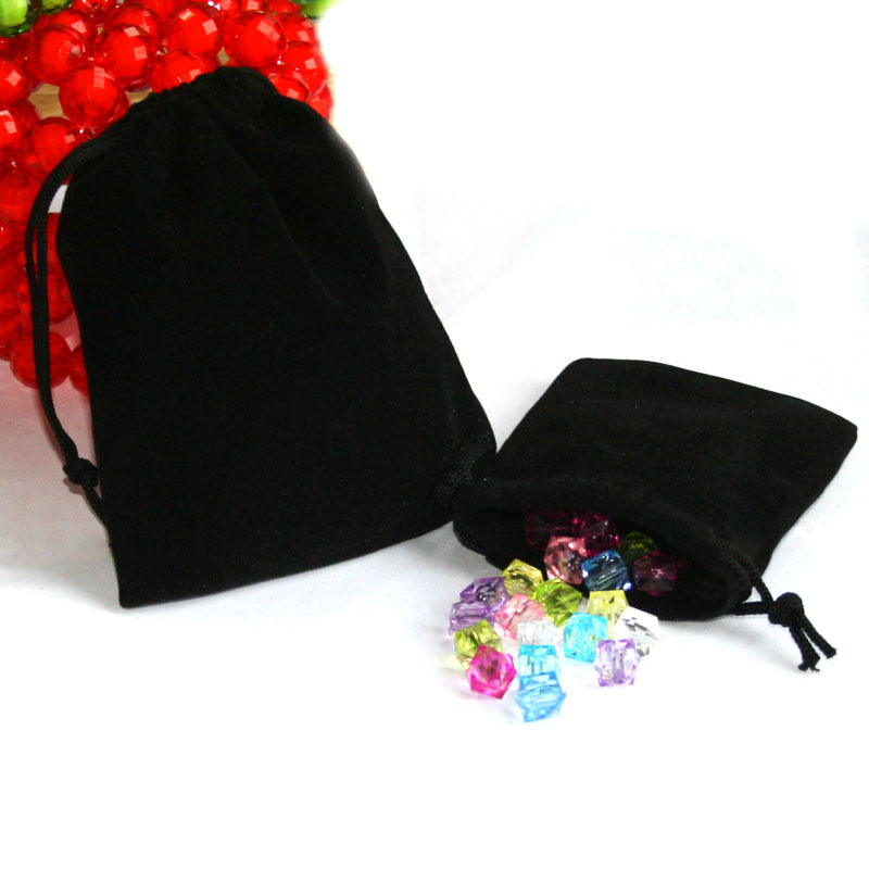 50 шт. черный бархатный мешочек на шнурке для ювелирных изделий, подарочный пакет/мешочки 9x7 см, свадебные любимые рождественские украшения, ...