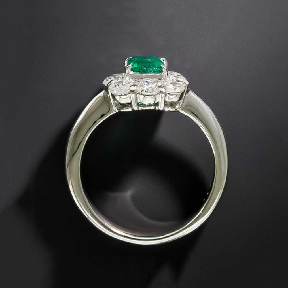 PANSYSEN 2019 ใหม่แฟชั่นเงิน 925 เครื่องประดับมรกตแหวนแหวนหมั้นแหวนของขวัญขายส่งขนาด 6-10
