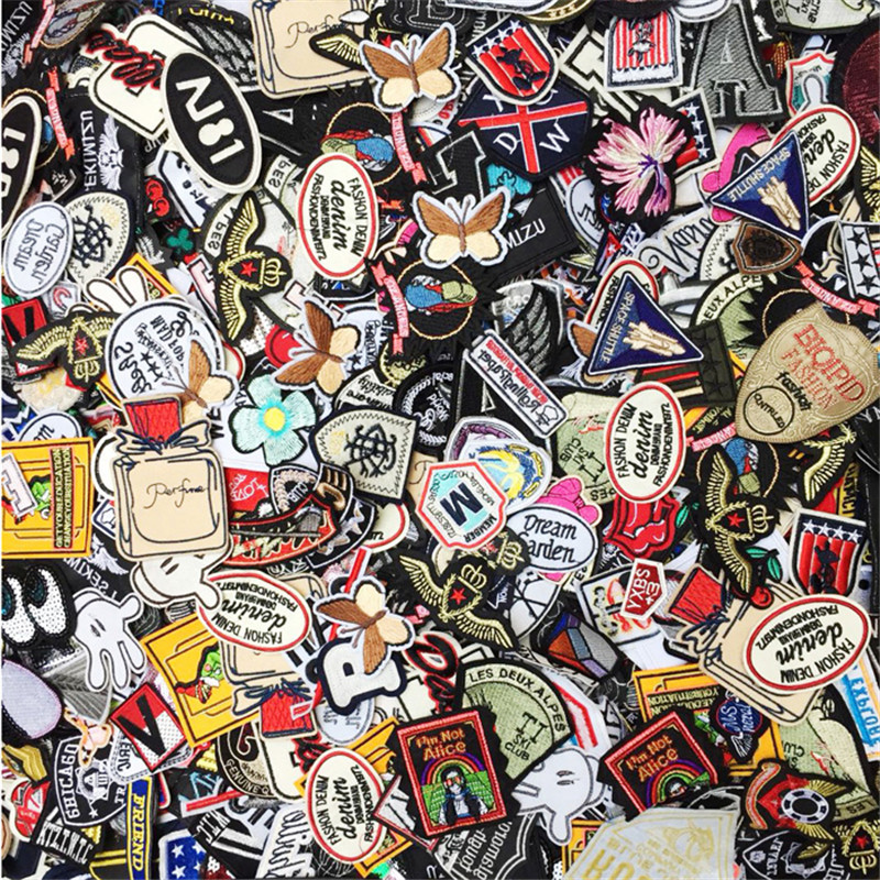 50PCs Mixed Iron On And Sew-On Patches For Clothing Embroidery Patch Summer Fabric Badge Stickers For Clothes Jeans Decoration