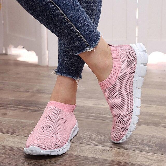 Rimocy più il formato traspirante air mesh scarpe da tennis delle donne 2019 primavera estate scivolare sulla piattaforma di lavoro a maglia appartamenti morbide scarpe da trekking donna