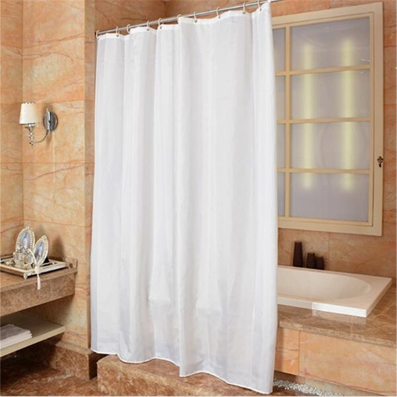 2 Sizes Elegant Waterproof White Polyester Fabric Extra Long Shower Curtains  Liners Super Thicken Plain White