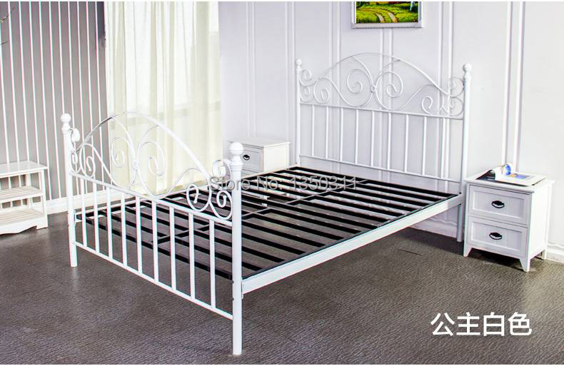 Noble Iron Double Single Bed 1.5 Meters 1.8 European Pastoral Student Bed Iron Bed Princess Bed Rack Home Furniture Furniture