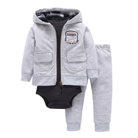 Baby Boys Cartoon 3 Pieces Sets Solid Gray Hooded Zipper Full Sleeve Open Stitch Coat One