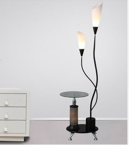Quality Modern Brief Wood Tea Table Metal Lamp Body Acrylic Lampshade Two Head Floor Lamps Lights Lighting Free Shipping In From