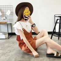 Moda Suit Twinset Şort Kadın Yaz 2017 Yeni Desen Kolay Kore Küçük Taze Salopettes Pantolon Giymek