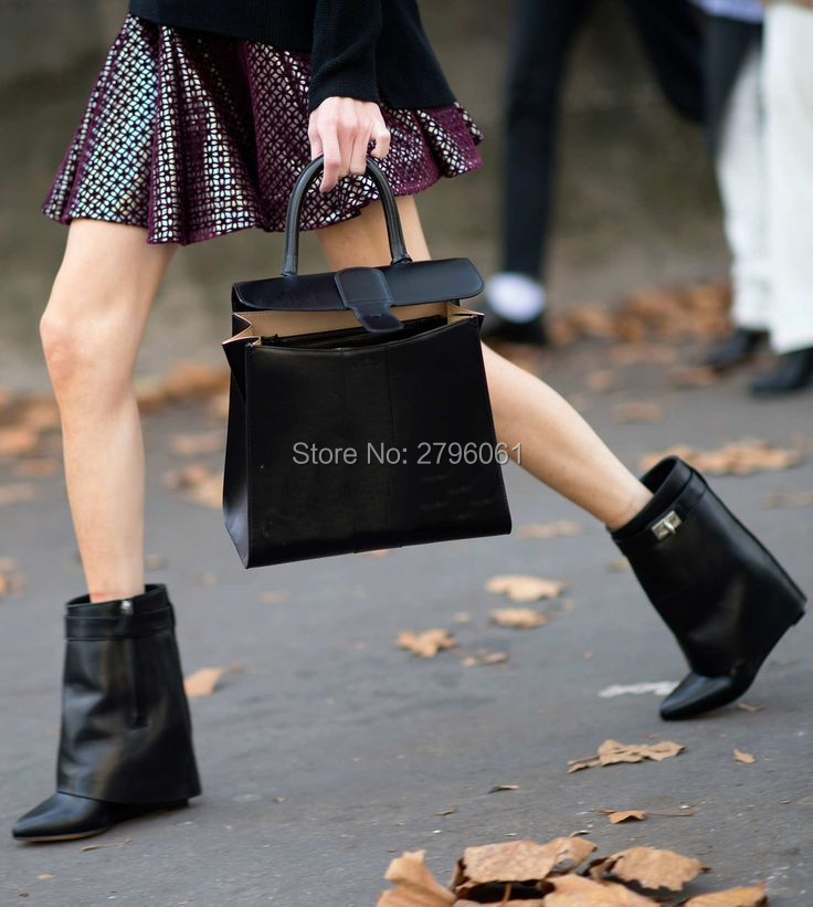 Newest Style Women Metal Lock Ankle Booties Height Increasing Wedge Round Toe Woman Motorcycle Boots Italy Designed Shoes