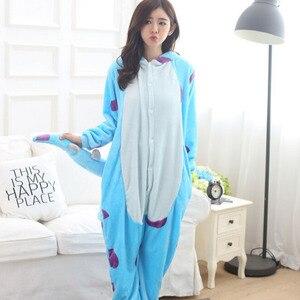 Image 3 - Monster Sullivan Kigurumi Pyjama Frauen Tiere Onesie Anime Cosplay Kostüm Erwachsene Flanell Maskottchen Set Teil Winter Warme Nachtwäsche