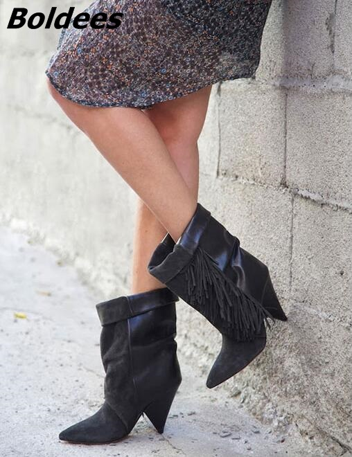 Women Autumen Winter Grey Suede Fringe Ankle Boots Pointed Toe Stacked Heel Tassel Short Boots Women Plus Size 42 botas