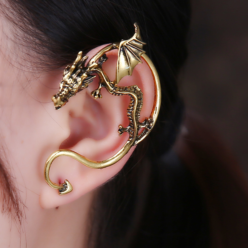 1PC Left Ear Retro Vintage Snake Ear clip Gothic Twine Gold Color Dragon Ear Cuff Earring Earrings Women Men