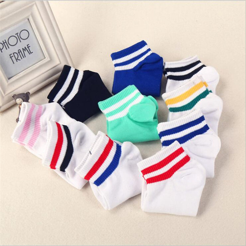 Ladies//Girls Purple Blue And Green Striped Thick Sporty Cotton Tube Ankle Socks